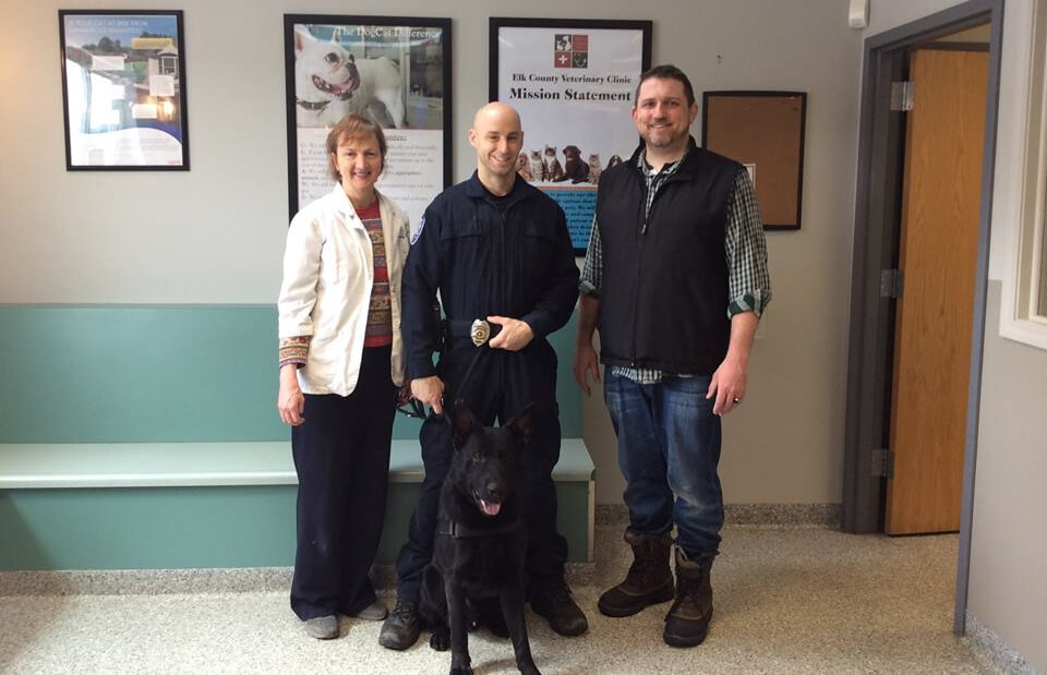 City of St. Marys Police Department's K9 Nando receives superior veterinary care through the Elk County Veterinary Clinic